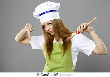 Female chef in different poses isolated gray background
