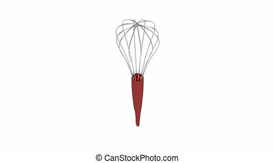 Balloon whisk spin on white background