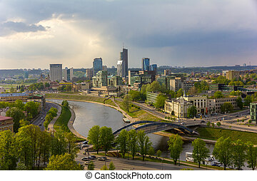 Cityscape of Vilnius, Lithuania. View from the Gediminas'...