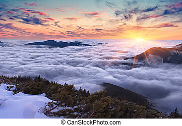 Colorful evening landscape in the Carpathian mountains