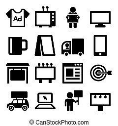 Advertisement Icons Set on White Background. Vector...