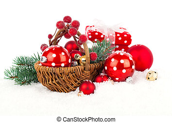 Christmas balls and fir branches with decorations isolated...