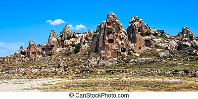 Cave town in Cappadocia, famous tourist destination in central Turkey known for its unique geological landscapes