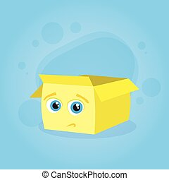 Yellow Cardboard Box Confused Doubtful Cartoon Character...
