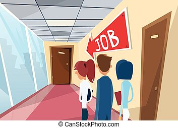 Business People Line Searching for Job Interview Candidate...