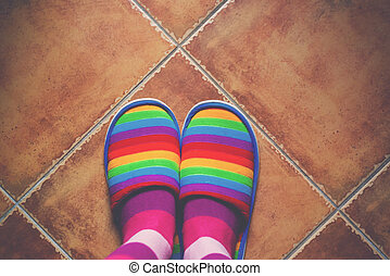 Retro toned rainbow color pattern slippers on the floor -...