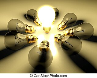 One glowing light bulb amongst other light bulbs, concept of idea