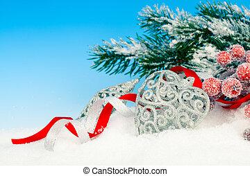 boże narodzenie, ozdoba, na, Śnieg, Błękitny, tło,