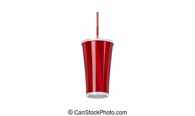 Paper cup with bendable straw spin on white background