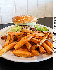 Hand Cut French Fries - Order of hand cut french fries with...