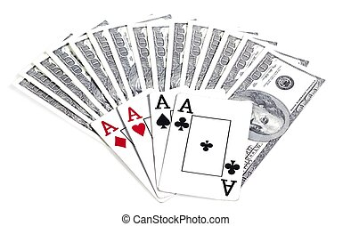 Money and playing cards, gambling