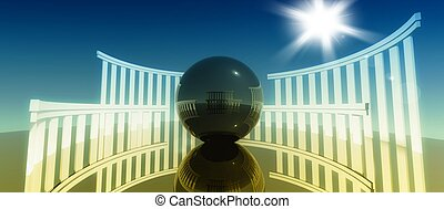 3d concept and metaphor of worship, religious cult architecture with glossy ball
