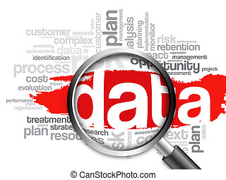 DATA word cloud with magnifying glass, business concept