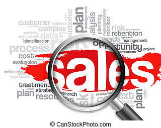 Sales word cloud with magnifying glass, business concept