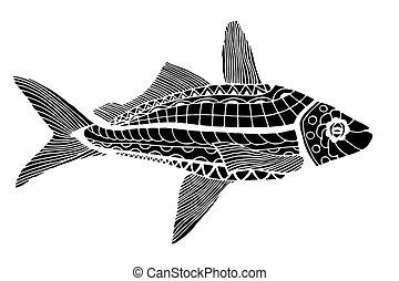 Monochrome stylized Fish - Monochrome Zentangle stylized...