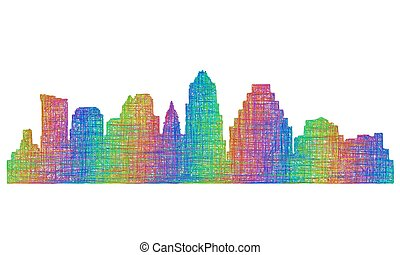 Austin skyline silhouette - multicolor line art