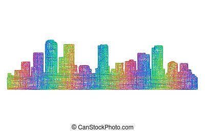 Denver skyline silhouette - multicolor line art