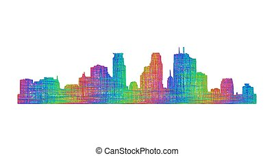 Minneapolis skyline silhouette - multicolor line art -...