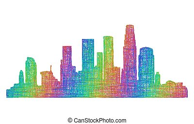 Los Angeles skyline silhouette - multicolor line art