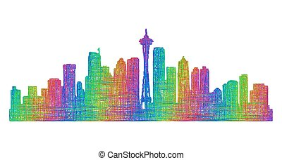 Seattle skyline silhouette - multicolor line art - Seattle...
