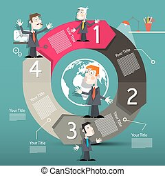 Circle Arrows Infographics Template - Layout with People -...