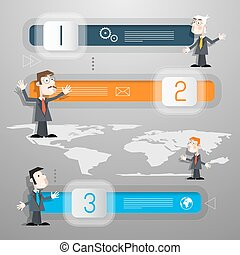 Progress Steps for Tutorial, Infographics with Men - Businessmen or Teachers and World Map