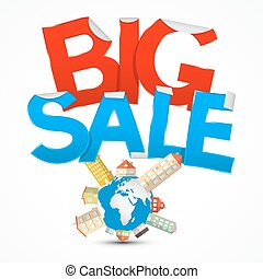 Big Sale Title with Earth - Globe and Houses on White...