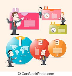 One, Two, Three,  Paper Progress Steps for Tutorial, Infographics with Men - Businessmen or Teachers and World Map