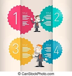 One, Two, Three, Four, Retro Paper Progress Steps for Tutorial, Infographics with Men - Businessmen or Teachers
