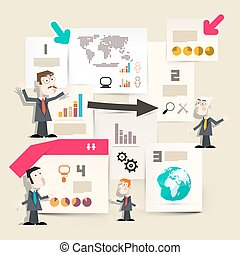 Presentation Infographics - Graphs with Businessmen and Papers with World Map and Globe Icons