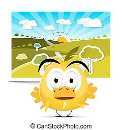 Funny Yellow Chicken on Field Landscape Picture Background with Trees, Meadow and Sunny Sky