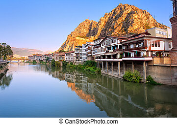 Traditional ottoman half timbered houses in Amasya, Turkey