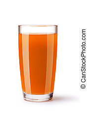 carrot juice - glass of carrot juice on a white background