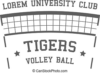 University Volleyball label, badge, logo and icon. Sports...