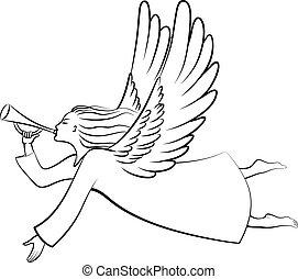 Contour Christmas angel - A silhouette of a contour...
