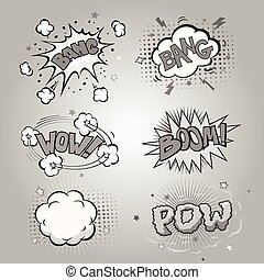 Boom Comic book explosion set and speech bubble