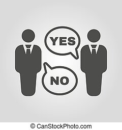 The dispute icon. Dialog and negotiation, discussion symbol....
