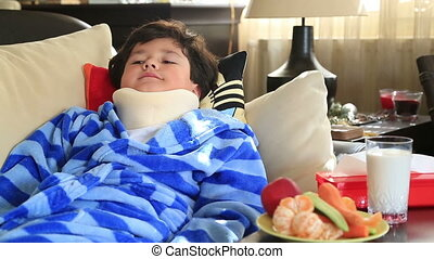 Sick child with neck brace - Sleepiness,painful little boy...