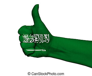 Hand with thumb up painted in colors of Saudi Arabia flag isolated