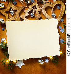 art Christmas background with tree light and Christmas paper card