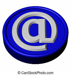 Blue button with sign e-mail