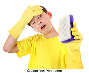 Kid with Bath Sponge - Tired Kid with Bath Sponge and Rubber...