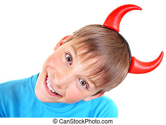 Kid with Devil Horns - Cheerful Kid with Devil Horns on the...