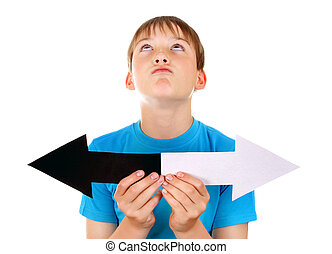 Kid with Two Arrows Isolated on the White Background