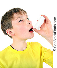 Kid with Inhaler Isolated on the White Background