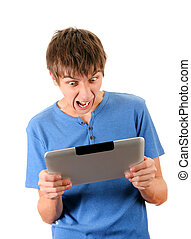 Angry Man with Tablet - Angry Young Man with Tablet Computer...