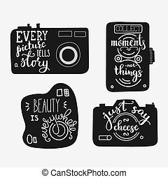 Lettering on vintage old camera shape set. Calligraphy style...