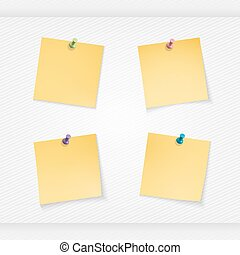 four yellow stationery stickers - Yellow stick note isolated...