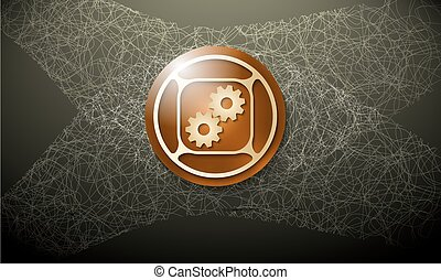 Brown background with abstract cobweb and cogwheels