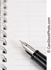 Fountain pen and notebook. As Business Image.